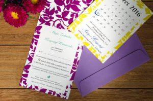 zdjęcie zaproszenia na ślub kartka kalendarzowa